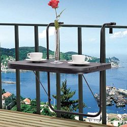 Tangkula Balcony Folding Deck Table Patio Outdoor Garden Adjustable Hanging Railing Serving Tabl ...