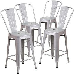 "Belleze (4-PC 24"" High Silver Indoor-Outdoor Counter Height Stool with Back"