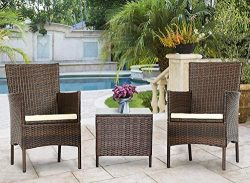 Solaura Outdoor 3-Piece Furniture Brown Wicker Bistro Set Conversation Chairs & Glass-top Co ...