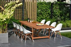 Brampton 9 Piece Outdoor Eucalyptus Extendable Dining Set | Perfect for Patio | with White Chair ...