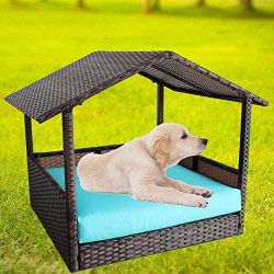 LEAPTIME Patio Seating Pet House PE Brown Rattan Playpen Indoor Outdoor Wicker Dogs Cats Rabbits ...