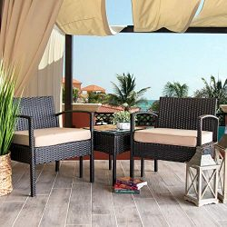 Barton 3PCS Patio Chair Set Patio Wicker Rattan Bistro Outdoor Chair Seat Thick Cushion w/Glass  ...