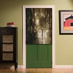YOLIYANA Apartment Decor Fabric Art Door Curtain,Woman with Red Umbrella in Street at Rainy Nigh ...