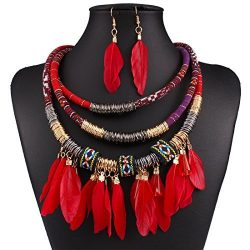 XY Fancy Feather Pendant Multi Layers Tribal Bib Necklace Statement Earring Jewelry Set