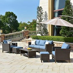 ovios Patio furnitue, Outdoor Furniture Sets,Morden Wicker Patio Furniture sectional with Table  ...