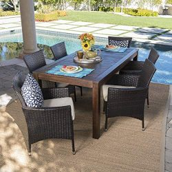Great Deal Furniture TAFT Outdoor 7 Piece Dining Set with Dark Brown Finished Wood Table and Mul ...