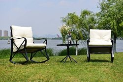 Feelway Outdoor 3 Pcs Rocking Chair Patio Wicker Furniture Bistro Set Two Chairs One Table Cushi ...