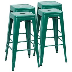 Furmax 30 Inches Metal Bar Stools High Backless Stools Indoor-Outdoor Stackable Green Stools(Set ...
