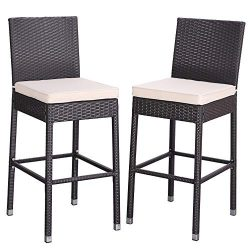 Do4U Set of 2 Patio Bar Stools All-Weather Wicker Outdoor Furniture Chair, Bar Chairs with Beige ...