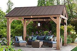 Sunjoy L-GZ1171PWD-B Hudson Cedar Wood Pavilion with Hardtop, Gazebo, 14'x12′ Natura ...