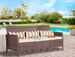 Solaura Outdoor Furniture Brown Wicker Patio Sofa (Seats 3) Light Brown Cushions & Classic G ...