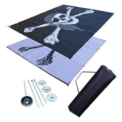 RV Patio Mat Awning Mat Outdoor Mat 9×12 Pirate RV Mat (Bag and Stakes Included)