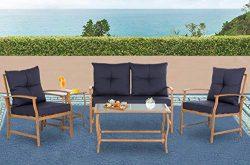 Solaura Patio Outdoor Furniture Bistro Set 5 Piece Conversation Set Light Brown Coated Metal Fra ...