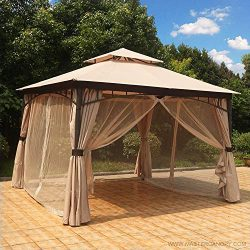 MASTERCANOPY Patio Soft Top Gazebo 11.5×11.5 Round Post Gazebo Canopy Iron Shelter with Mosquito ...