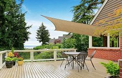 Cindynamo 12′ x 16′ Sand Color Sun Shade Sail Canopy Rectangular Sand 185 GSM Shade  ...