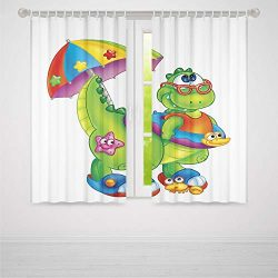 TecBillion Door Curtain,Jurassic Decor for Living Room,Cute Dinosaur with Colorful Umbrella Glas ...