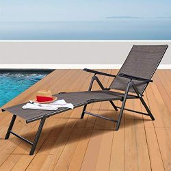 Tangkula Patio Lounge Chair Chaise, Adjustable Backrest Ergonomic Shape with Durable Handwoven R ...