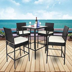 Leaptime Patio Furniture Black Rattan 1 Bar Table and 4 Stools Set Christmas Party Furniture Out ...