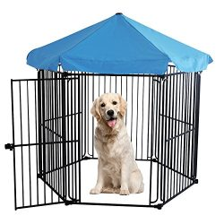 LEMKA Heavy Duty Pet Playpen Dog Kennels, Pet Dog Exercise Playpen Pet Courtyard Kennel Foldable ...