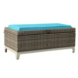 Orange Casual Rattan Wicker Deck Storage Box | Small Outdoor Storage Bench with Seat Cushion, Al ...