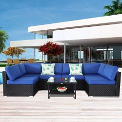 Patio Furniture Black Rattan Sofa Wicker Sectional Couch Set Outside Conversation Garden Furnitu ...