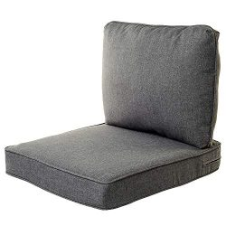 Quality Outdoor Living All Weather Deep Seating Patio Chair Seat and Back Cushion Set, 23-Inch b ...
