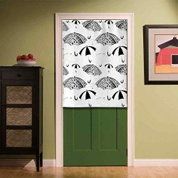 YOLIYANA Apartment Decor Privacy Door Curtain,Ornate Umbrella Icons with Minimalist Stripes and  ...