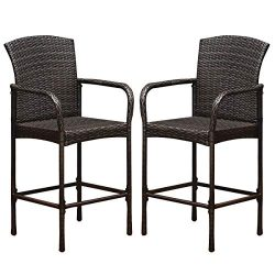 Tangkula Set of 2 Patio Bar Stools, Indoor Outdoor Use Wicker Rattan Barstool with Footrest for  ...
