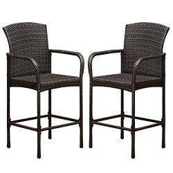 COSTWAY Rattan Wicker Bar Stool, Outdoor Backyard Chair Patio Furniture with Armrest Rattan Wick ...