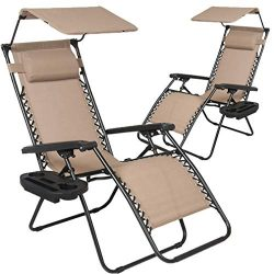 BestMassage Patio Chairs Zero Gravity Chair Lounge Chair 2 Pack Recliner for Outdoor Funiture W/ ...
