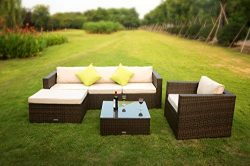 VANERUM 6 Piece Outdoor Rattan Sectional Sofa- Patio Wicker Furniture Set&Modern Glass Coffe ...