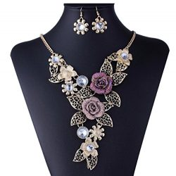 DDLBiz Women's Vintage Flower Rose Gold Necklace Statement Earrings Jewelry Set