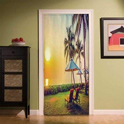 YOLIYANA Seaside Modern Simple Door Curtain,Empty Umbrella and Chairs on The Beach Palm Trees at ...