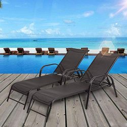 Stark Item Set of 2 Patio Lounge Chairs Sling Chaise Lounges Recliner Adjustable Back