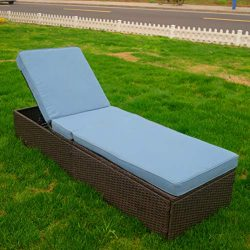 GOJOOASIS Outdoor Chaise Lounge Recliner Chair Pool Patio Furniture w/Adjustable Backrest &  ...