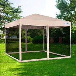 Quictent Upgraded Ez Pop up Canopy with Netting Screen House Tent Mesh Side Wall Roller Bag-3 Co ...