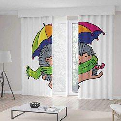Window Curtains Blackout,Hedgehog,for Bedroom Living Dining Room Kids Youth Room,Smiling Animal  ...