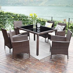 Wisteria Lane 7 Piece Patio Wicker Dining Set, Outdoor Rattan Dining Furniture Glass Table Cushi ...