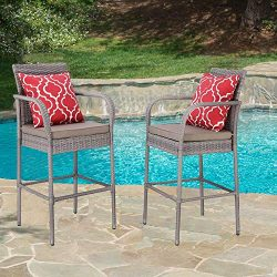 HTTH 2 Pieces Patio Bar Stools All-Weather Wicker Outdoor Furniture Chair, Bar Chairs with Cushi ...