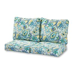 Greendale Home Fashions Deep Seat Loveseat Cushion Set in Baltic