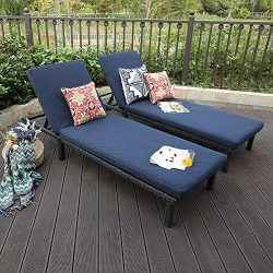 PHI VILLA 2 Piece Outdoor Patio PE Rattan Wicker Chaise Lounger Set