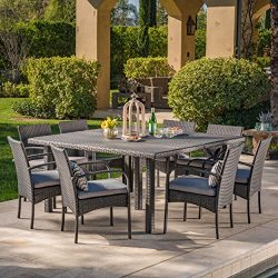 Christopher Knight Home Coral Outdoor 9 Piece Grey Wicker Square Dining Set with Grey Water Resi ...