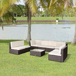 Esright 9 Pieces Patio PE Rattan Wicker Sofa Sectional Furniture (Brown)