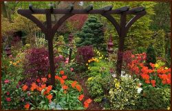 Colorful Garden with Pergola and Bridge – Etched Vinyl Stained Glass Film, Static Cling Wi ...