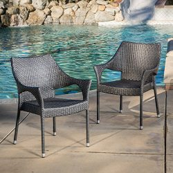 Great Deal Furniture Alameda | Outdoor Wicker Chairs | Set of 2 | Perfect for Patio | in Grey