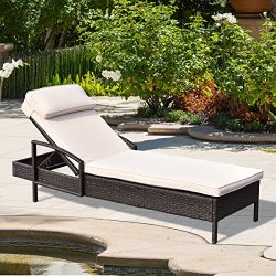 Tangkula Patio Reclining Chaise Lounge, Outdoor Beach Pool Yard Porch Wicker Rattan Chaise, Adju ...