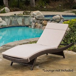 GDF Studio 654 Salem Outdoor Textured Beige Water Resistant Chaise Lounge Cushion