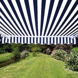 ALEKO 12×10 Feet Retractable Patio Awning, BLUE/WHITE STRAP (3.5m x 3m)