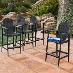 Great Deal Furniture Malibu Outdoor Dark Grey Finished Acacia Wood Adirondack Barstools (Set of 4)