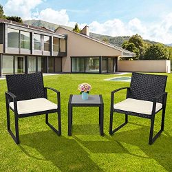 Solaura Outdoor Furniture 3-Piece Black Wicker Patio Bistro Conversation Set with Beige Cushions ...